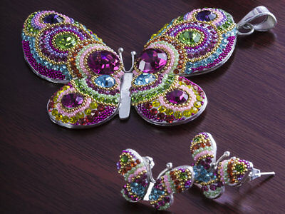 Taxco Mexican Silver Micro Pearl Butterfly Pendant Earring Set Mexico