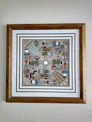 """Navajo Creation Story Sand Painting, Matted & Framed, 13.5""""x13.5"""", Signed"""