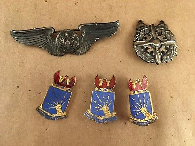 WWII US Military STERLING SILVER Wings Pins Buttons Vintage Mixed Lot of 5 Items