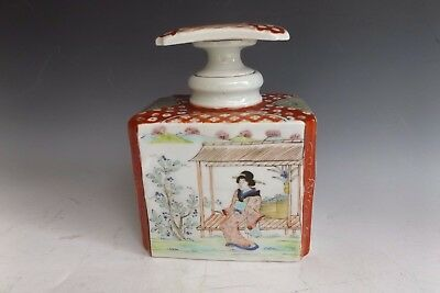 Antique Japanese Export Tea Caddy ..Hand Painted Geisha Accent & Signed Stopper