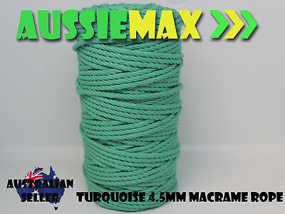 4.5mm Turquoise Macrame Rope 100% Natural Cotton Cord 90 Meters