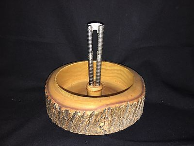 Antique Ellwood Rusticware wooden nut bowl with Nut Cracker Only Christmas