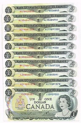 Lot Of 10 Various 1973 Canada One Dollar Notes