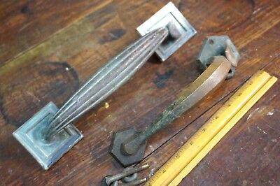Antique Heavy Brass Thumb Latch Door Pull Handle Colonial Architectural Entry