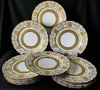 """Antique set of 12 William Guérin Limoges gold encrusted 11"""" cabinet plates"""