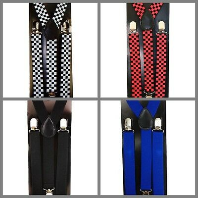 Suspender, 100% Comfortable for Kids, Boys, Girls, Clip To Clip, Checkered,Plain