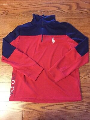 Boys Youth Medium POLO Ralph Lauren red blue quarter zip pullover jacket