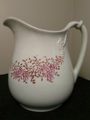 Ironstone Pitcher Vintage, China, Warranted, Beige with Pink Flowers
