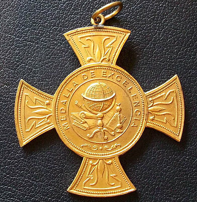 Uruguay C1900´S Antique Croos To Excelence Sacred Heart School, Massive Medal
