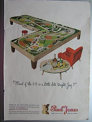 Vintage 1946 Paul Jones Whiskey Train Layout Full Page Color Print Ad