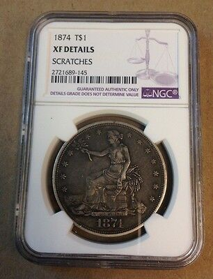1874 Trade Silver Dollar! Graded by NGC with XF Details!