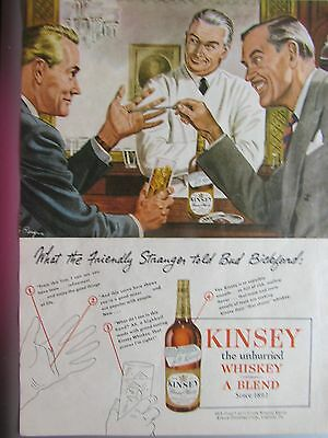 Vintage 1946 Kinsey Whiskey Signed Berger Color Print Ad Full Page