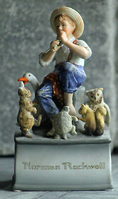 "NORMAN ROCKWELL - Vintage Music Box Figurine - Schmid - ""Talk To The Animals"""