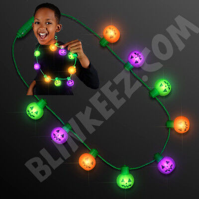 HALLOWEEN Funky Pumpkins Light Up Necklace