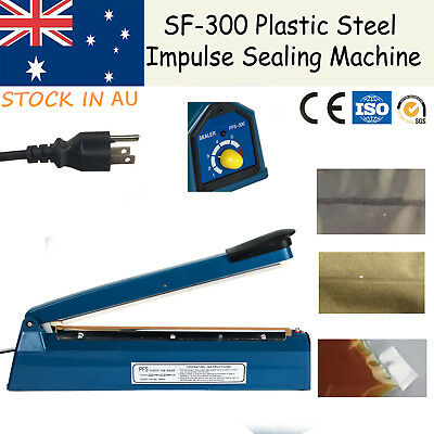 "12"" 300mm Impulse Heat Sealer Electric Plastic Poly Bag Hand Sealing Machine AU"
