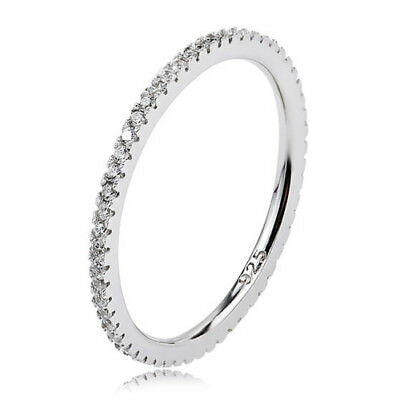 STACKING Ring 925 Solid Sterling Silver White Pave Stackable Band Size 6