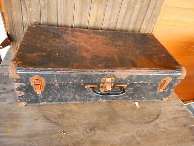 Antique rusted - very beat up rusty Metal Suitcase Trunk Hobo Re purpose Plants