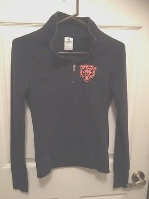 Chicago Bears NFL Victorias Secret Pink half zip  pullover sweatshirt xs