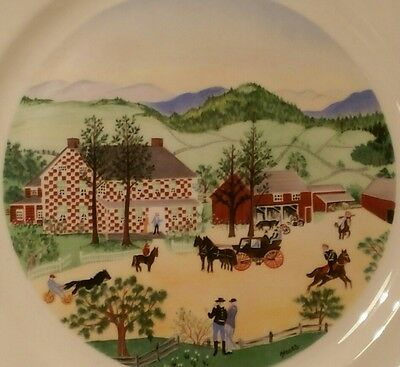 "Vintage Grandma Moses ""The Red Checkered House"" 10"" Atlas China Plate"