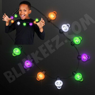LED HALLOWEEN Zombie Skulls Light Up Necklace