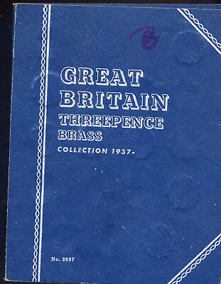 21 Coins In Whitman Folder #9687  Great Britain Three Pence Collection. 1937-.