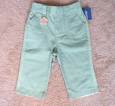 NWT Genuine Kids Baby Girl Green Cotton Pants 24 Months