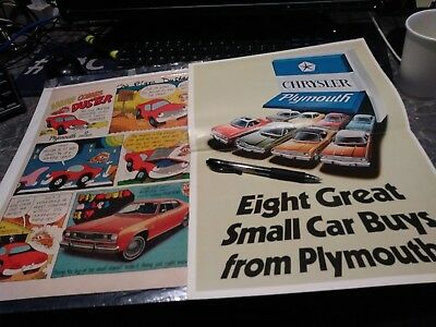 lot 17 ads plymouth duster gold 340 poster vintage brochure