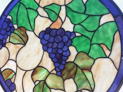 STAINED GLASS WINDOW ART PANEL With Cabernet Grapes 🍇 SUN CATCHER