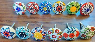 12 x Vintage Look Flower Ceramic Knobs Door Handle Cabinet Drawer Cupboard Pull