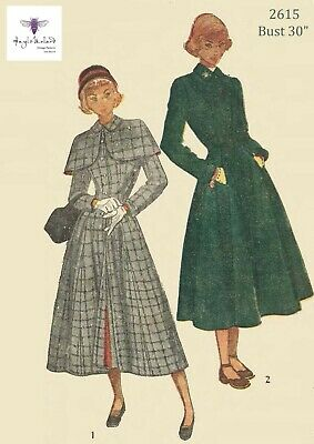 """Vintage 1940's Sewing Pattern WW11 Fitted Flared Coat Detachable Cape Bust 30"""""""
