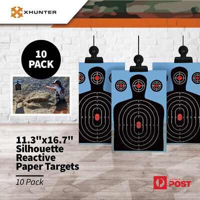 "10PK Xhunter 11.3""x16.7"" Silhouette Reactive Paper Targets Rifle Pistol Shooting"