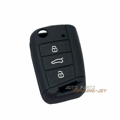 Black Silicone Key Cover FOB Cover Remote Flip 3BTN For Volkswagen Golf MK7GTI