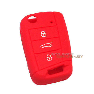 Red Silicone Key Cover FOB Cover Remote Flip 3BTN For Volkswagen Golf MK7 GTI