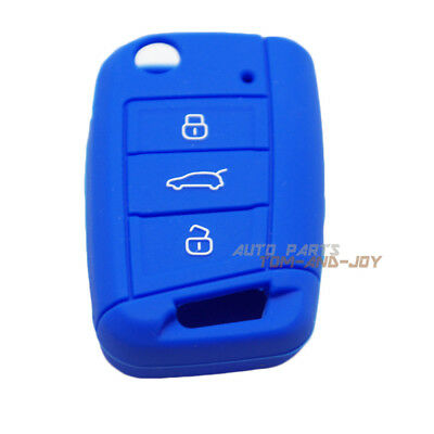 Blue Silicone Key Cover·FOB Cover Remote Flip 3BTN For Volkswagen Golf MK7 GTI