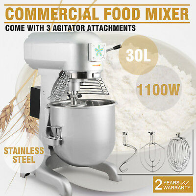 1100W 30 L Commercial Dough Food Mixer Gear Driven Pizza Bakery Three Speed