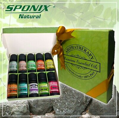 Top Essential Oil Gift Set 10 Aromatherapy Oil Therapeutic Grade 10 mL by Sponix