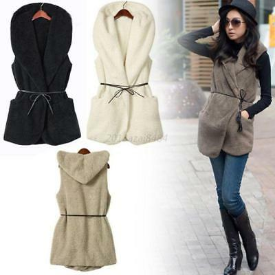 Winter Women Fleece Hooded Waistcoat Warm Sleeveless Vest Coat Jacket Outerwear