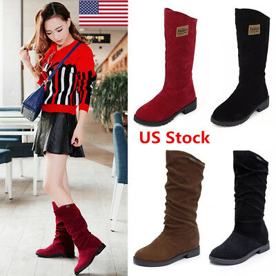 US Women's Stylish Mid Calf Flat Suede Boots Winter Ladies Shoes Casual Boots