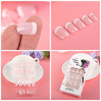 24Pcs Fashion French Style DIY Artficial Manicure Art Tips False Nails with Glue