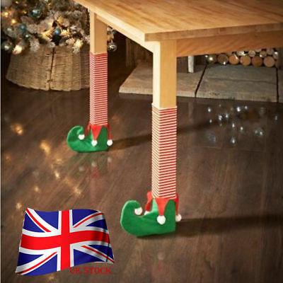 4pc Elf Foot Shoes Chair Table Leg Covers Christmas Table Decorations Candy Gift