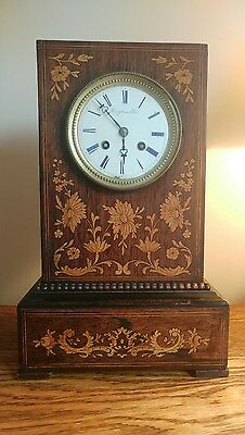 PRETTY FRENCH 8DAY MANTEL CLOCK WITH INTRICATE INLAY TO RICH ROSEWOOD CASE c1800
