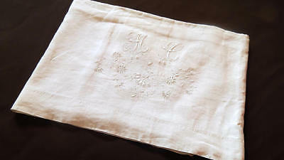 French Vintage Linen Sheet w/Fine Embroidery