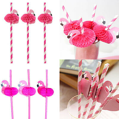 20 Pcs Flamingo Cocktail Drinking Paper Straws Luau Fun Hawaiian Hen Party Multi