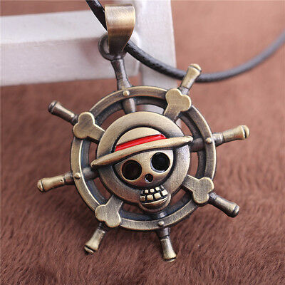 One Piece Rudder Skull Pitates Logo Choker Necklace Pendant Anime Cosplay Gift