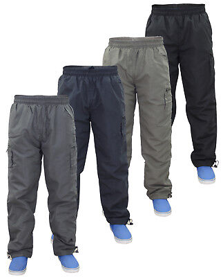 New Mens Elasticated 7 Pockets Polyester Combat Cargo Fleece Lined Work Trousers