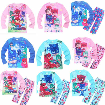 Kids Boys Girls PJ Mask Long Sleeve Top Pants Set Nightwear Sleepwear Pajamas