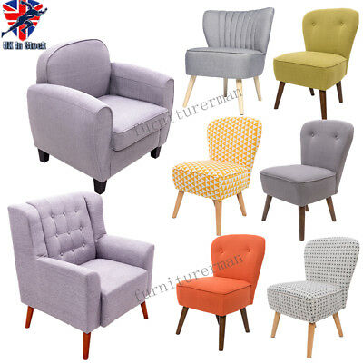 Modern Linen Fabric Upholstered Fabric Armchair Dining Sofa Chair Bedroom Home