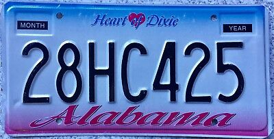 GENUINE American Alabama Heart of Dixie USA License Licence Number Plate 28HC425