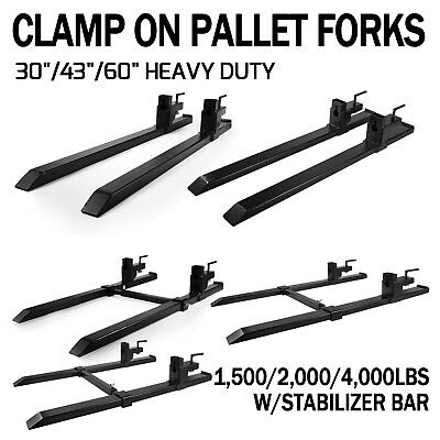 "60"" 1500/4000lbs capacity Clamp on Pallet Forks Loader Bucket Skidsteer Tractor"