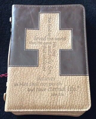 BRAND NEW John 3:16 Cross Medium Brown/Tan Two Tone LuxLeather Bible Cover